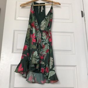 Lovers and Friends palm tree wrap dress size small